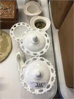 6 Milk Glass Figurines
