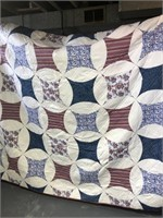 Red, White & Blue Floral Patterned Quilt (Approx.