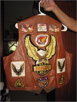 Vtg Honda GoldWing Leather Vest with PatchesSize52