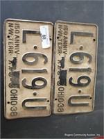 2 Ohio License Plates 1938