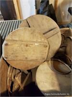 2 Wooden Crates W/ Belts, Lids & Misc.