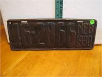 1930 Nebraska License Plate 46-2866 Neb