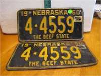 Pair 1960 Nebraska License Plates 4-4559