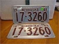 Pair 1949 Nebraska License Plates 17-3260