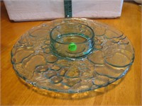 Vintage Green Glass Chip & Dip Tray 13""