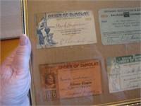 4 Antique Framed Cards 1=1926 Chicago Burlington &