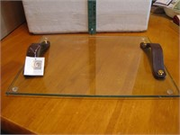 """Glass & Leather Tray 16"""" x 11&3/4"""""""