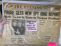 THE EVENING SUN VTG NEWSPAPER/ BABE RUTH DEATH