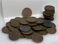 QTY 1 ROLL 50 UNSEARCHED WHEAT PENNIES
