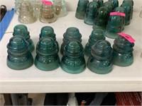 LOT OF 9 VTG GLASS INSUALTORS