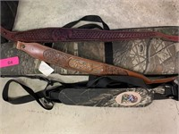 CAMOUFLAGED RIFLE CASE AND LEATHER STRAPS