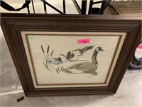 EMBROIDERED NEEDLEPOINT GOOSE WALL ART