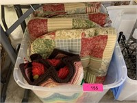 LARGE BIN OF LINENS
