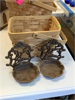 LOT OF BASKETS/ CAST IRON SOAP HOLDERS/ DISHES