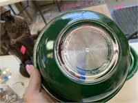 GREEN ON CLEAR PYREX NESTING MIXING BOWL SET