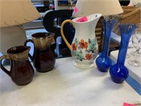 BROWN DRIP GLAZE PITCHERS/ COBALT VASES MORE