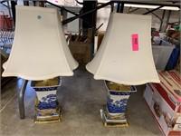 2PC GORGEOUS BLUE & WHITE SPODE LAMPS