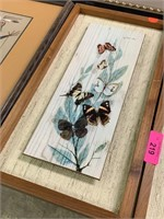 2PC DECORATIVE MID CENTURY BUTTERFLY PICTURES