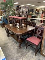 ANTIQUE JACOBEAN DINING TABLE W 6 CHAIRS