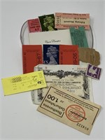 LOT OF MISC STAMPS / TICKETS/ MORE (NOT MY PLASTIC