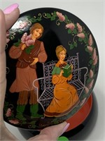 VTG METAL LACQUERWARE LIDDED BOX HAND PAINTED