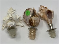 3PC SEA SHELL BOTTLE STOPPERS