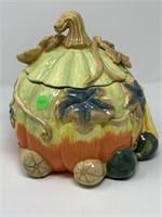 MRS FIELDS ORNATE PUMPKIN THEMED COOKIE JAR