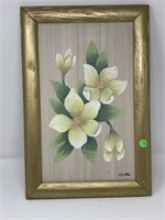 ORIGINAL FRAMED FLORAL PAINTING BY R BRETON