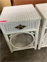 2PC WHITE WICKER DRAWER WND TABLES