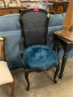 CANE BACK ARM CHAIR W POOFY BLUE CUSHION