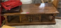 WOOD COFFEE TABLE W CABINET