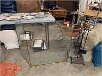 GLASS FIREPLACE SCREEN AND TOOLS