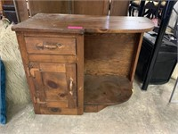 VTG PINE TABLE W CABINET & DRAWERS