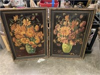 2PC LARGE FLORAL WALL ART