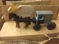 CAST IRON GRAY HORSE AND BUGGY 48X TIMES BID