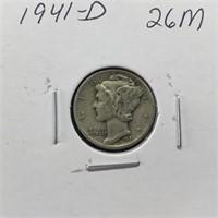1941-D MERCURY SILVER DIME