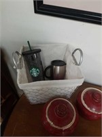 CANISTERS, STARBUCKS GLASSES , CHICKEN WIRE BASKET