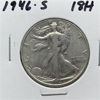 1946-S WALKING LIBERTY SILVER HALF DOLLAR
