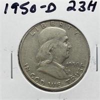 1950-D FRANKLIN SILVER HALF DOLLAR