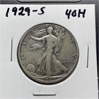 1929-S WALKING LIBERTY SILVER HALF DOLLAR