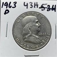 1963-D FRANKLIN SILVER DOLLAR