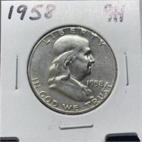 1958 FRANKLIN SILVER HALF DOLLAR