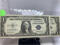 2PC $1 CONSECUTIVE NUMBER SILVER CERTIFICATES
