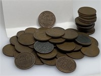 QTY 1 ROLL 50 UNSEARCHED WHEAT PENNIES           `