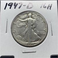 1947-D WALKING LIBERTY SILVER HALF DOLLAR