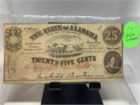 1863 25 CENTS ALABAMA CURRENCY NOTE
