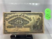 1900 CANADIAN 25 CENTS CURRENCY NOTE