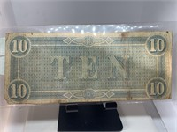 1864 RICHMOND $10 CSA CURRENCY NOTE