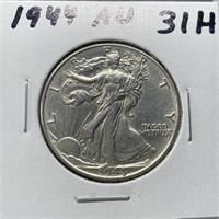 1944 AU WALKING LIBERTY SILVER HALF DOLLAR