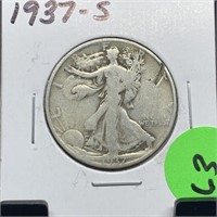 1937-S WALKING LIBERTY SILVER HALF DOLLAR